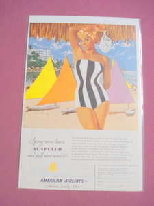 1951 American Airlines Acapulco Woman In Swimsuit Ad