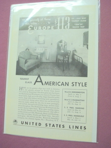 1930's United States Lines Ad