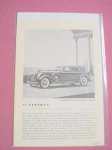 1930's Lincoln Dietrich Convertible Sedan Automobile Ad