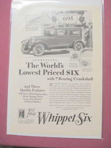 The New Whippet Six Willys-Overland Automobile 1930s Ad