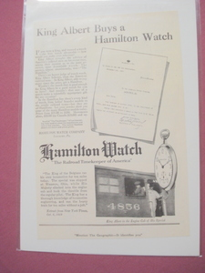 1920 Hamilton Watch Co. Lancaster, Pa. King Albert Ad