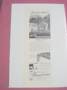 1940 Vacation Ahead! Head for Pennsylvania Ad