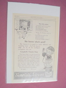 1915 Campbell's Soup Ad With Wise Little Mother Poem