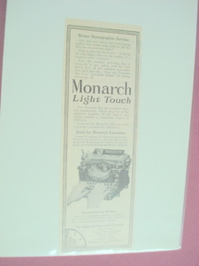 1913 Monarch Typewriter Ad Monarch Typewriter Co., N.Y.