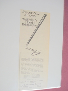 1914 Waterman's Ideal Fountain Pen Ad L. E. Waterman Co