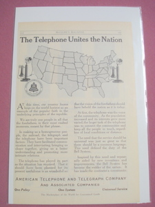 1915 Ad American Telephone and Telegraph Company AT&T