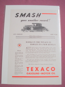 1930 Texaco Motor Oil Ad Featuring Buick Eight-66S