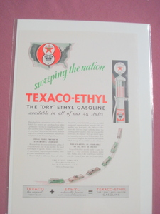 1930 Texaco Ethyl Gasoline Color Ad