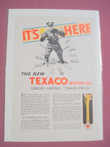 1930 The New Texaco Motor Oil Color Ad