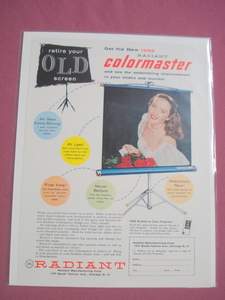 1956 Color Ad Radiant Colormaster Projection Screen