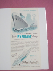 1951 The New Ryandam Ocean Liner Ad Holland-America