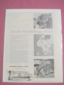 1959 Union-Castle Line Ad Africa Ocean Liner