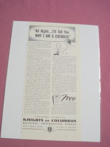 1951 Knights of Columbus, St. Louis, Mo. Ad Catholic