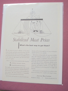 1951 American Meat Institute Stabilized Meat Prices Ad