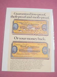 1970 Color Ad Bank of America Travelers Cheques