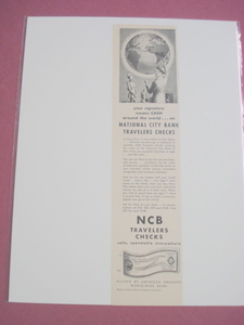 1948 Ad National City Banks Traveler's Checks John Traveler