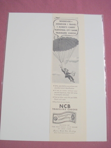 1948 Umbrella Ad National City Bank Traveler's Checks