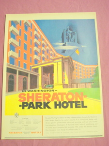 1954 Sheraton Park Hotel In Washington Color Ad