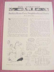 1932 Plans for Building A Child's Play Horse