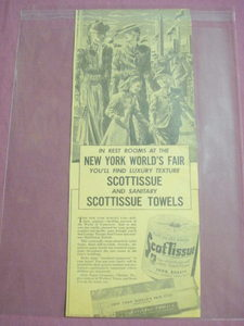 1939 New York World's Fair Scott Tissue Ad Scottisue