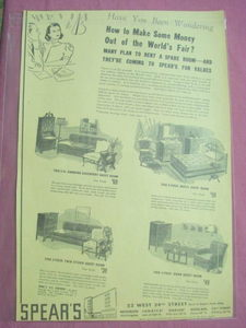 1939 New York World's Fair Spear's Furniture Ad