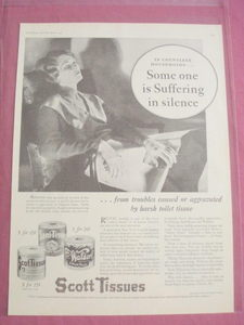 1930 Scott Tissues Ad Some One Is Suffering In Silence