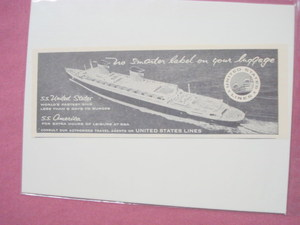 1956 Ad United States Lines Cruise Ships