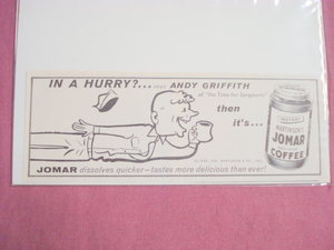 1956 Andy Griffith Martinson's Jomar Coffee Ad