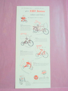 1953 AMF Junior Trikes and Bikes Ad 4 Bikes Featured!