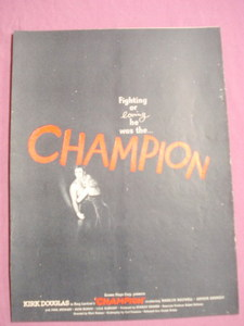 1949 Champion Movie Ad Kirk Douglas Boxing Movie
