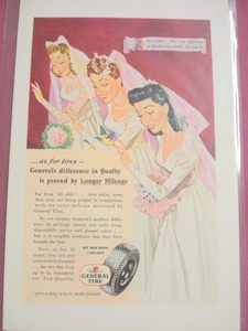 1945 General Tire Color Ad Ford Three Brides