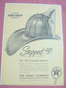 1940's/50's Texaco Fire Chief Gasoline Ad With Hat