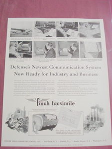 1941 Ad Finch Facsimile Defense's Communication System