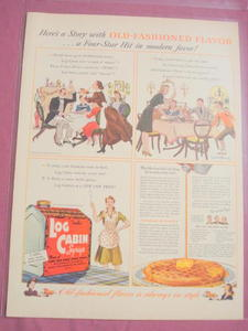 1941 Log Cabin Syrup Color Ad With Recipe