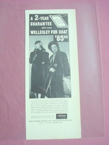 1949 Wellesley Fur Coat Ad With 2 Models