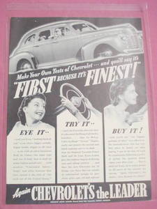 1941 Full Page Chevy Ad