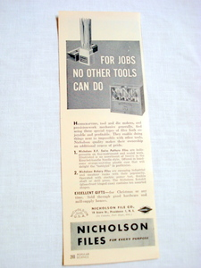 1946 Files Ad Nicholson File Co., Providence, R. I.