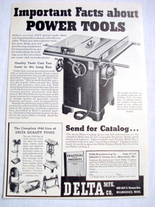 1939 Ad Tools Ad Delta Mfg. Co., Milwaukee, Wisc.