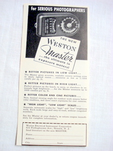 1939 Weston Master Exposure Meter Ad Newark, N. J.