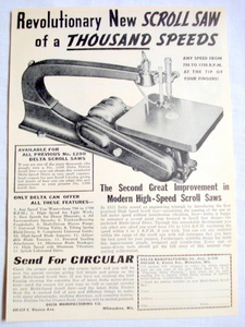1938 Scroll Saw Ad Delta Mftg. Co., Milwaukee, Wisc.