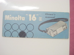 1960's Softcover Minolta 16 II Camera Owner's Manual