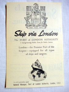 1957 Ad The Port of London Authority Ship Via London