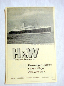 1957 H&W Ad Harland & Wolff Passenger Liners