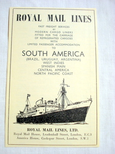 1957 Ad Royal Mail Lines Ltd. to South America