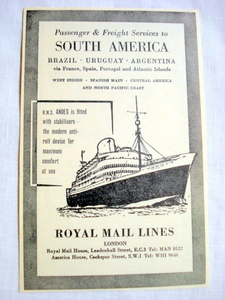 1957 Ad Royal Mail Lines, London