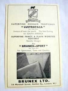 1957 Ad Brunex Ltd., London Lustropaca Suitings