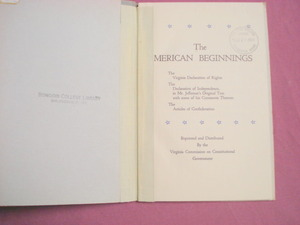 The American Beginnings Virginia Government 1961