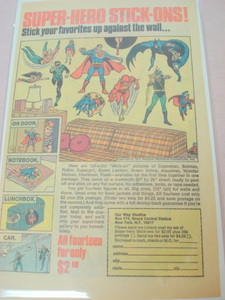 1971 Ad Super-Hero Stick-Ons Superman, Batman, Flash