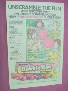 1983 Pink Lemonade Bubble Yum Unscramble Words Ad