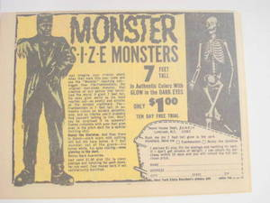 1969 Ad Monster Size Monsters Frankenstein, Skeleton